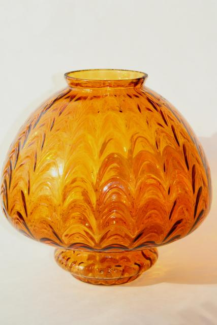 Mid Century Vintage Amber Glass Pendant Light Swag Lamp