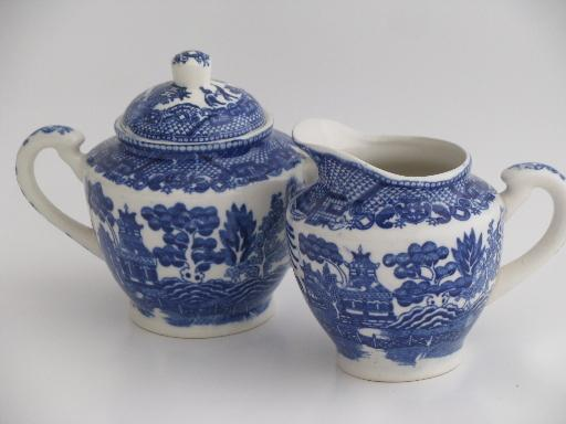 old Blue Willow china cream pitcher and sugar bowl set vintage Japan