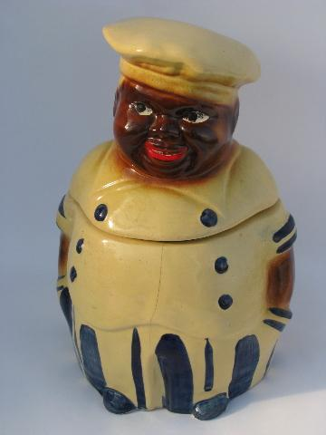 old USA pottery cookie jar fat jolly cook vintage black americana