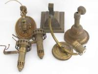 antique lamp parts, sockets, and prisms