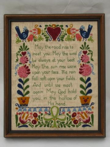 Old Crewel Work Wool Embroidery Hand Stitched Irish