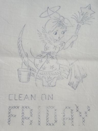 old floursack feed sack towels, kitchen angels days of the
