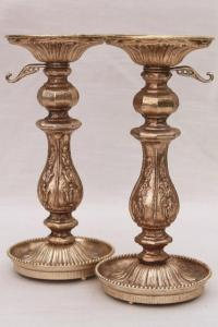 ornate cast metal candlesticks, vintage candle holders w ...