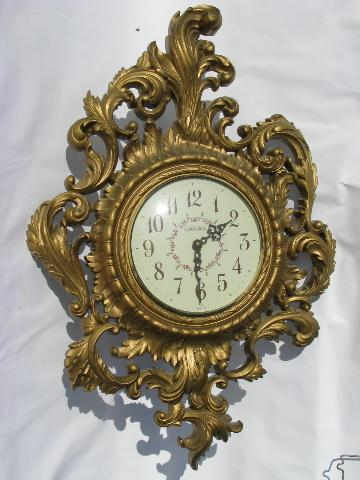 Ornate Vintage Gold Rococo Wall Clock New Haven W