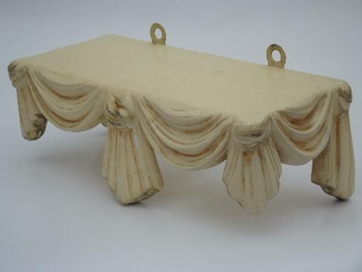 Ornate Vintage Plaster Wall Shelf French Country Ivory And Gold Chalkware