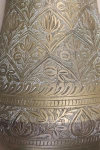 pair of large vintage etched brass vases, tall tarnished