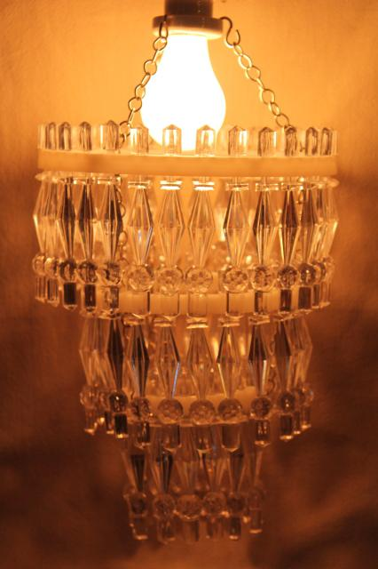 Plastic Prisms Little Chandelier Lights Hanging Light For Plain Single Bulb Fixtures