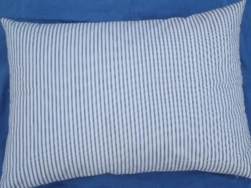 Primitive Old Feather Pillow Vintage Blue Stripe Cotton