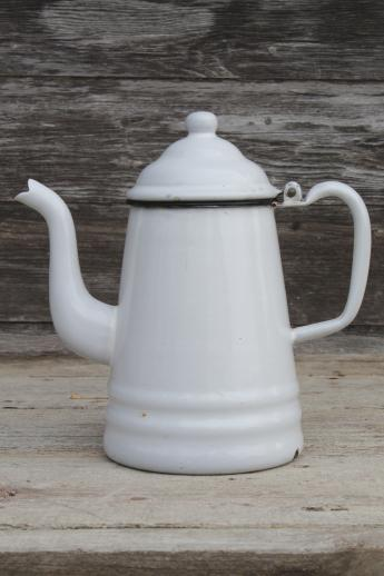 coffee kitchen rugs remodel jacksonville fl primitive vintage enamelware coffeepot, six cup white ...