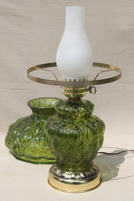 Quilted Glass Table Lamp W Chimney Shade 60s Vintage Victorian Lamp Fern Green Color
