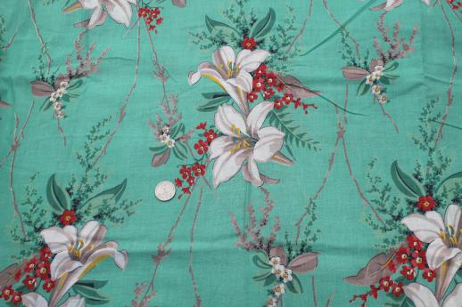retro 1950s vintage floral print cotton fabric large lilies on jade green