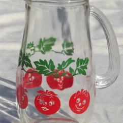 Cute Kitchen Rugs Blue Valance Retro Anthropomorphic Tomato Juice Pitcher, Happy Tomatoes ...