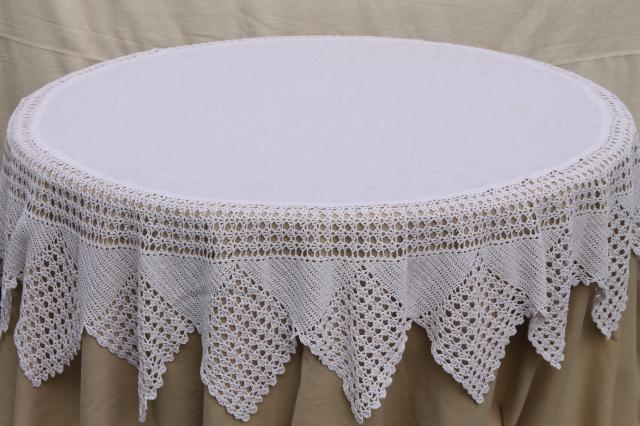 Shabby Cottage Chic Vintage White Linen Round Tablecloth W Wide Crochet Lace Edging