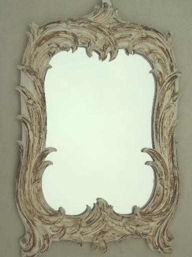 shabby cottage french country gold  white mirror vintage