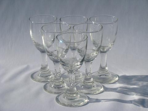 Six Vintage Handblown Crystal Wine Glasses, Country
