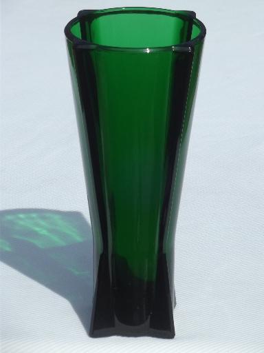 Vintage Anchor Hocking Rocket Vase Forest Green Glass Art