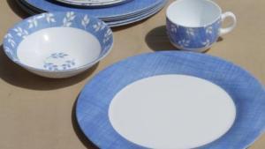 Vintage Arcopal Milk Glass Dishes Set For 6, Blue White