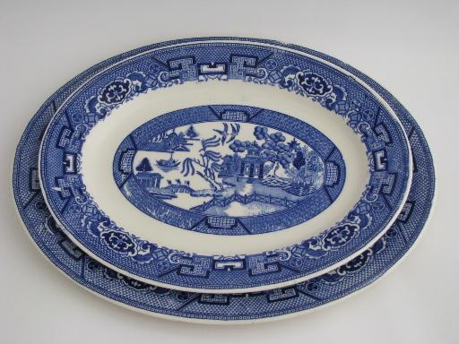 Vintage Blue Willow Pattern Homer Laughlin China Platters