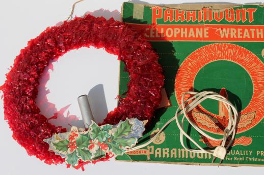 Vintage Christmas Decorations, Red Cellophane & Chenille