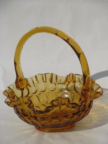 Vintage Fenton Amber Glass Thumbprint Brides Basket Old