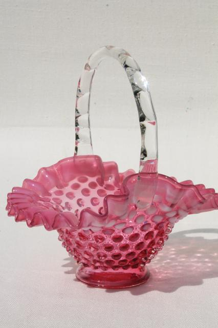 vintage Fenton label brides basket cranberry glass