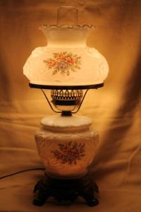 vintage Fenton milk glass lamp, puffy rose w/ roses ...