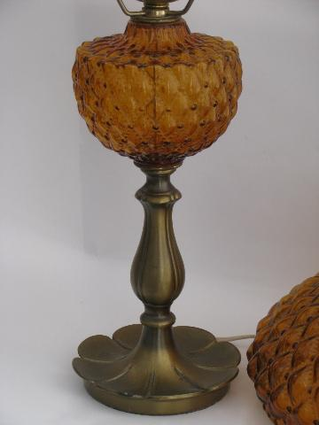 vintage Fenton student lamp for desk or table amber glass