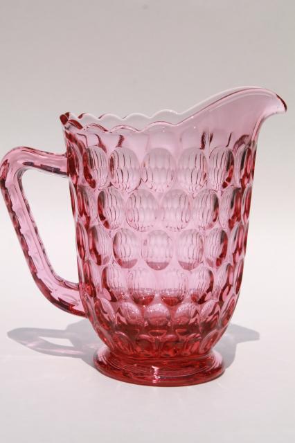 Vintage Fenton Thumbprint Pattern Glass Colonial Pink