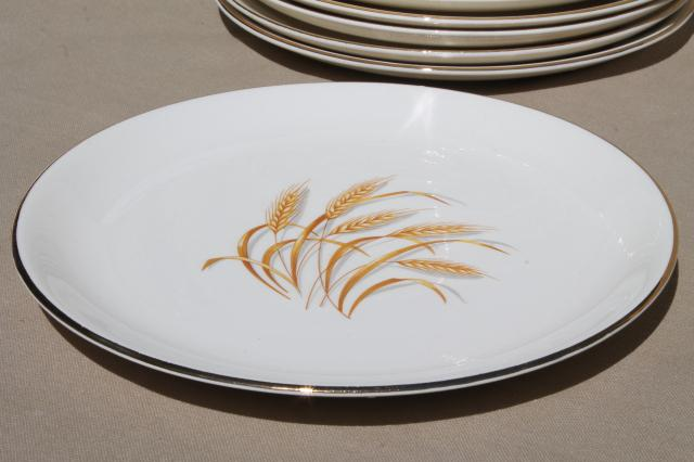 Vintage Homer Laughlin Golden Wheat China Gold Wheat Sheaf Dinner Plates Thanksgiving Set For 12