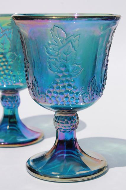Vintage Indiana Glass Blue Carnival Iridescent Luster Wine