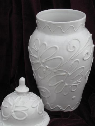 Vintage Italy Earthenware Pottery Covered Jar Big White