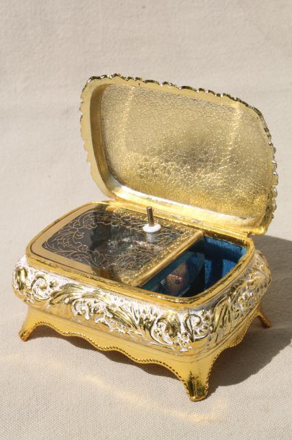 Japanese Musical Box : japanese, musical, Vintage, Japan, Music, Plays, Memory,, Ornate, Metal, Trinket, Forget-me-nots