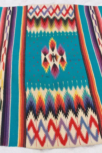 vintage Mexican Indian wool blanket rug w fringe