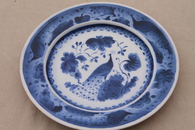 vintage Royal Copenhagen Aluminia faience pottery blue  white peacock plates