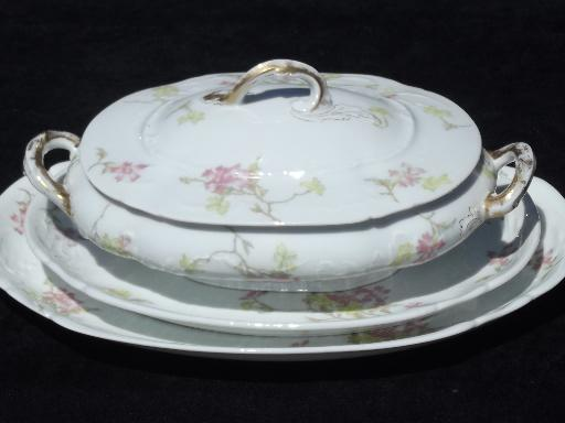 Vintage Theo Haviland France Pink Floral China Platters