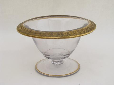Vintage Tiffin 1920s Small Glass Comport Bowl Wide Gold