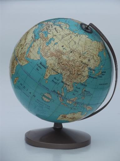 Vintage Weber Costello World Globe W Metal Stand 50s School Classroom Globe