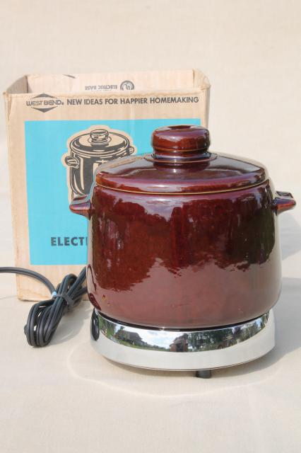 Vintage West Bend Electric Bean Pot Cooker W Stoneware