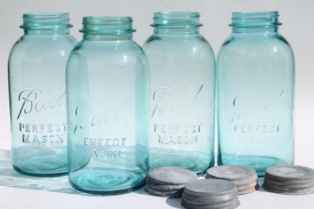 vintage aqua blue glass Ball Perfect Mason jars big two