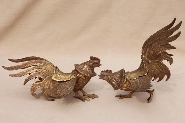 Vintage Brass Roosters Pair Of Fierce Fighting Birds