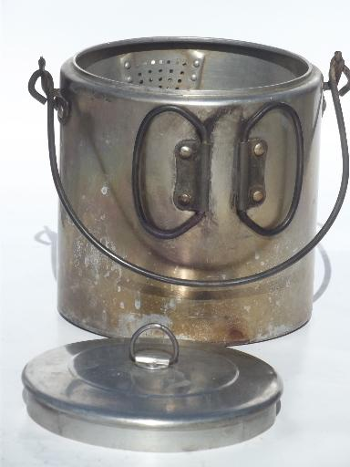 vintage campfire cookware  coffee pot set packable camping mess kit for a crowd