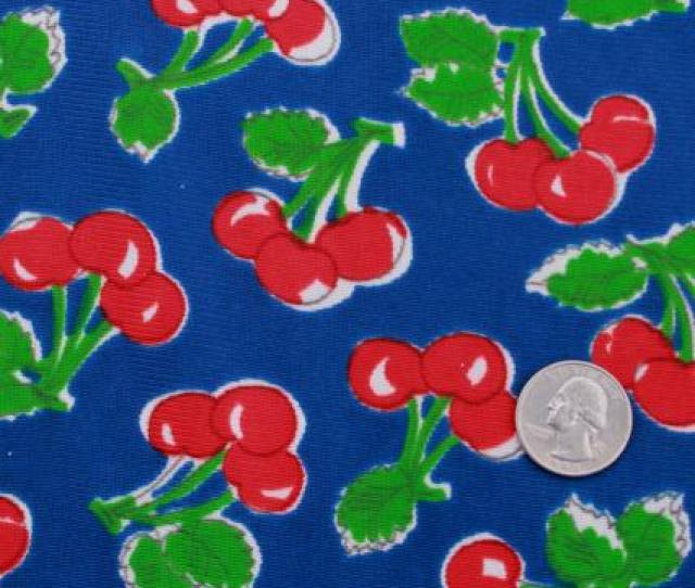 Vintage Cherry Print Polyester Tricot Fabric Retro Dress Lingerie Material