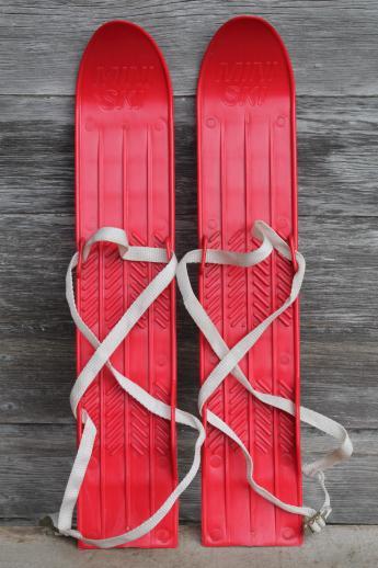 vintage childs size skis red plastic miniski set w