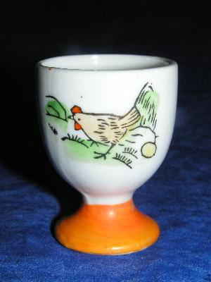 chicken kitchen rugs knife brands vintage china egg cup with chicken, hand-painted japan