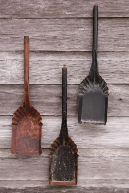 vintage coal shovels metal scoops for stove scuttles collection of old tools primitive wall decor