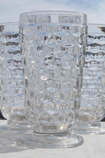 vintage cooler glasses Whitehall cube pattern crystal