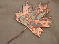 vintage copper metal art sculpture, autumn leaf, leaves ...