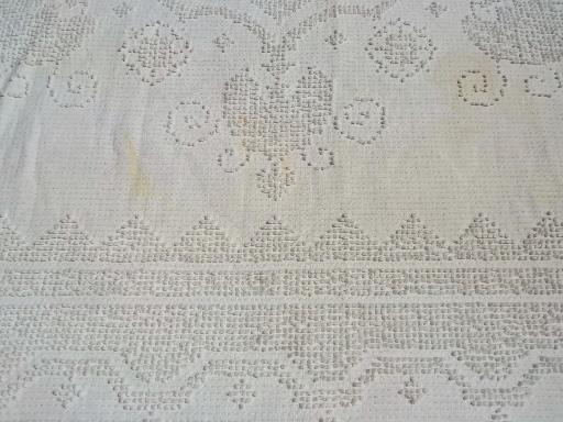 vintage cotton chenille bedspread lot, tufted candlewick