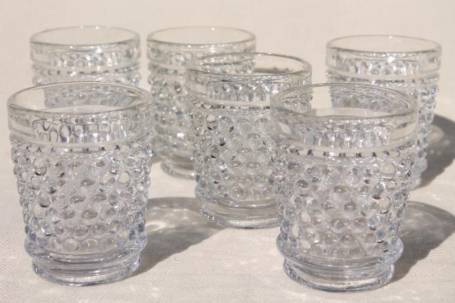 vintage crystal clear hobnail pattern glass shot glasses