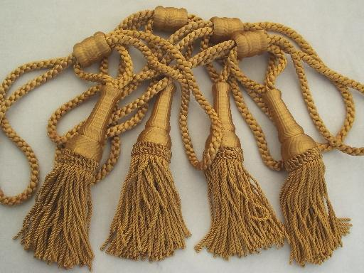 vintage curtain tie backs antique gold